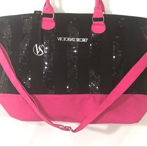 Victoria's Secret Black Sequin Pink Bag Tote